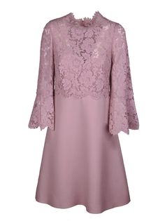 Heavy Lace Dress from Valentino: Pink Heavy Lace Dress with scalloped hem on sleeves and neck, concealed rear zip and hook-and-eye fastening. Event Dresses, Modest Dresses, Nice Dresses, Girls Dresses, Lace Outfit, Lace Dress, Baju Kurung Lace, Dress Brokat, Dress Neck Designs