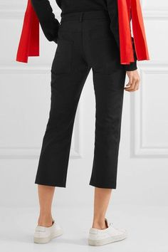 KENZO - Cropped Stretch-cotton Flared Pants - Black - FR42