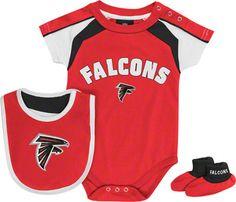 Atlanta Falcons Newborn Red Team Creeper, Bib, Bootie Set -JCPenny