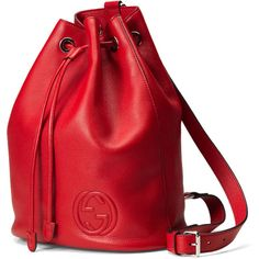 Gucci Soho Leather Drawstring Backpack featuring polyvore, fashion, bags, backpacks, leather backpack, gucci backpack, gucci bags, drawstring bag and backpacks bags
