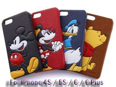 COQUE 3D Disney Leather Cuir Skin Hard PC Back Case Cover iPhone 4 4S 5S 6S Plus