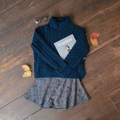 Polo neck knit jumper, tweed flair mini skirt & franke magazine. All online now: www.oliveclothing.com