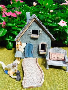 ♥´¨) ¸.•´ ¸.•*´¨)¸.•*¨) (¸.•´ (¸.•`♥~ This little Blue Gray Cottage Starter kit is just perfect to add to your flower bed or garden. You will love looking at the little magical world you create. You may love it so much you may want to order two or more sets and make a little village. Available with girl or boy fairy option at checkout also. See other Fairy Garden supplies in my shop if youd like to add a little bike or birdbath or something else to your garden. https://www.etsy...