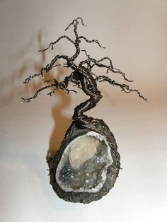 Black Pine bonsai wire tree on geode from KallistoTrees on Etsy $95  #art #sculpture #crystal #rock