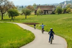 Moms:Tots:Zurich: 10 Safe Places to Bike with Kids in Switzerland Giant Water Slide, Water Slides, Lake Beach, Living In Europe, Bike Path, Boat Rental, Picnic Area, Staycation, Day Trips