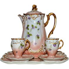 Exquisite Limoges Chocolate Pot, Tray, and two Stemmed Cups with Saucers ~ Hand Painted with Violets ~ R. Delinieres & Co Limoges France / Mavaleix & Granger / Bawo & Dotter Elite Works Limoges France Chocolate Pots, Chocolate Coffee, Vintage Dishes, Vintage Glassware, Teapots Unique, Teapots And Cups, Tea Service, Kakao, Tea Party