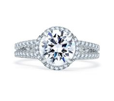 Quilted Spilt Shank Round Halo Engagement Ring   A. Jaffe