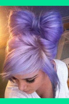 "Check out Suzy Atajanyan's ""purple hair bow pastel hair"" Decalz Lavender Hair, Lilac Hair, Lavender Color, Gray Hair, Periwinkle Hair, Violet Hair, Ombre Hair, Love Hair, Gorgeous Hair"