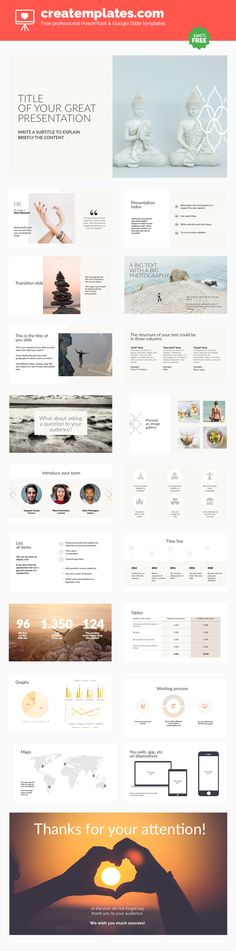 Mindfulness: A suggestive and spiritual free template for Powerpoint or Google Slides.  A delicate presentation in natural tones and a light typography that gives your project a suggestive touch.