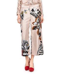 Pantaloni Stampa A Rose In Duchesse Di Seta BLUEMARINE