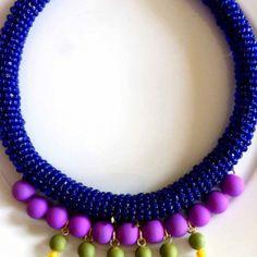 """Cocktail Jewels"" Blue Jacket Necklace"