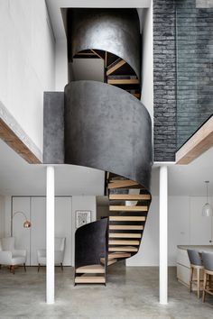 75 Modern staircase ideas: Transform your staircase into something extraordinary | Livingetc Modern Staircase, Spiral Staircase, Staircase Design, Staircase Ideas, Stair Design, Glass Stairs Design, Frameless Glass Balustrade, Stair Handrail, Painted Stairs