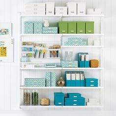 Available exclusively at The Container Store, shop our bestselling Elfa shelving solutions. Shop the site, design online, or meet with a design expert in-store today! Home Office Organization, Office Storage, Storage Shelves, Wall Shelves, Corner Shelves, Toy Storage, Storage Boxes, Organization Ideas, Sewing Room Storage