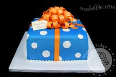 blue orange white gift cake bow - love the colors!