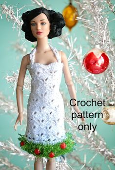 Crochet pattern (PDF) for 16-inch fashion doll 1960s mod dress with Christmas tree trim