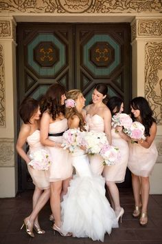 Blush pink bridesmaid dresses :) Love!