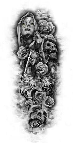 Visit the post for more. Skull Sleeve Tattoos, Best Sleeve Tattoos, Tattoo Sleeve Designs, Forearm Tattoos, Body Art Tattoos, Tattoo Drawings, Gangsta Tattoos, Biker Tattoos, Tatuaje Trash Polka