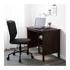IKEA - BRUSALI, Escritorio, blanco, , Puedes recoger los cables y los alargadores en la balda que hay debajo del tablero para que estén ocultos pero a mano.Gracias a las baldas regulables, podrás poner el ordenador en el armario.