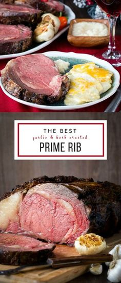 Garlic & Herb Crusted Boneless Prime Rib + Video : Need to impress someone this Christmas season? Why not invite them over for a holiday dinner and serve this gorgeous masterpiece? Rib Recipes, Cooking Recipes, Oxtail Recipes, Venison Recipes, Smoker Recipes, Lunch Recipes, Chicken Recipes, Cooking Prime Rib, Recipes