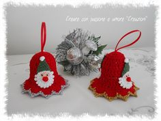 Campanelle natalizie ad uncinetto by https://www.facebook.com/CreareconpassioneeamoreCreazioni/ … #crochet #handmade #ChristmasDecorations #lemaddine