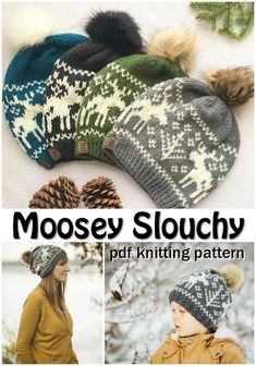 c375f7458c5b2 I love the beautiful moose intarsia fair isle knitting pattern on this fun winter  hat
