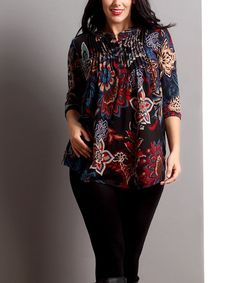 "Reborn Collection Black Floral Notch Neck Tunic - Plus | zulily Nice! 35""long."