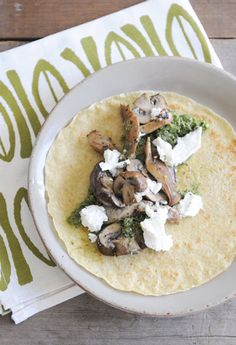 Whole Wheat Crepes- I skip the mushrooms and add sausage and roasted acorn squash to the goat cheese and pesto.