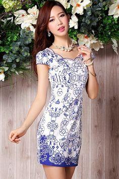 White Cotton Blue & White Porcelain Pattern Modern Chinese Qipao Dress - iDreamMart.com