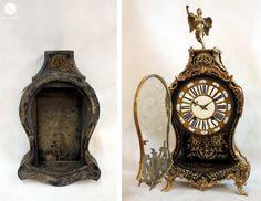 Zegar konsolowy w stylu Boulle po renowacji w pracowni Alter Novum w Krakowie