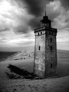The old abandoned lighthouse at Rubjerg, Danmark.