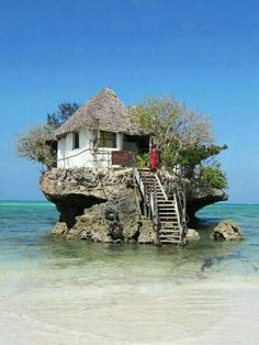 The Rock Restaurant in Zanzibar, Tanzania, via It's a beautiful world. One of the world's unique restaurants. The Rock Restaurant in Zanzibar, Tanzania (via designerhk). Places Around The World, The Places Youll Go, Places To Visit, Around The Worlds, Wonderful Places, Beautiful Places, Amazing Places, Amazing Things, Unusual Homes