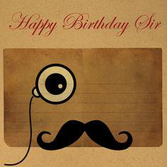 Verjaardagskaarten - Gefeliciteerd man snor Like a sir