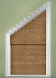 Angle Top, Angle Bottom and Triangle Window Treatments Windows, Angled Ceilings, New Homes, Window Treatments, Window Coverings, Curtains, Diy Window Shades, Triangle Window, Curtains With Blinds