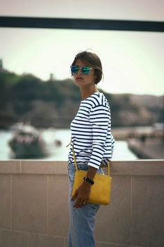 Breton stripes + yellow is a match made in heaven Mode Style, Style Me, Look Fashion, Womens Fashion, Stripes Fashion, Mode Inspiration, Passion For Fashion, Spring Summer Fashion, What To Wear