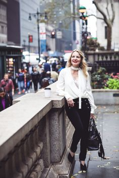 Slimming velvet pants by Veronica Beard with sailor buttons and an Alexis choker blouse in ivory with lace cami and Who What Wear mules on fashion blogger over 40 from Busbee Style, Erin Busbee in New York City