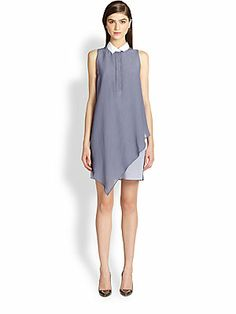 Band of Outsiders Contrast Collar Overlay Dress