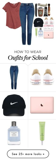 """""""Starting school in 1 week"""" by zmommyandme on Polyvore featuring H&M, Topshop, Lauren Conrad, Nike Golf, Converse, Givenchy and Missha"""