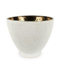 Skål/kruka vit/guld L - Olsson & Jensen Vit, Lovely Things, Decorative Bowls, Tableware, Home Decor, Dinnerware, Decoration Home, Room Decor, Dishes