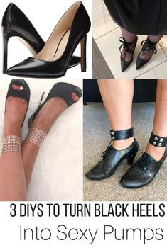 Strappy black heels, classic black heels, Black pumps, Lace up black heels, DIY shoes #BlackShoes #Pumps #BlackHeels #ClassicHeels #DIYshoes