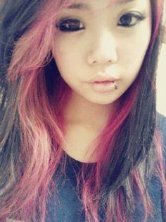 #Piercing #pink hair #lip piercing #nose piercing #korean #korean girl