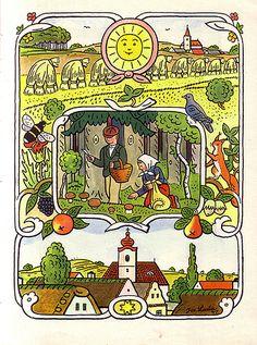 The Seasons Come, The Seasons Go, by Josef Lada. Children's Literature, Children's Book Illustration, Vintage Children, Garden Art, Vintage Art, Childrens Books, Illustrators, Folk Art, Art Decor