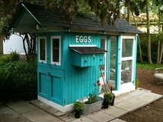 "I love the color of this coop, the extended overhang, and the ""EGGS"" sign above the nest boxes!"