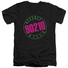 90210/NEON - S/S ADULT V-NECK - BLACK - SM