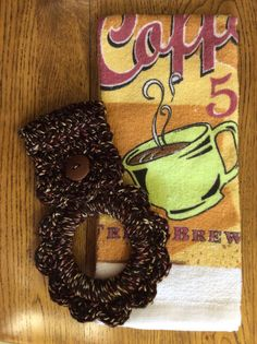 Kitchen towel with hanger tea towel towel by Yarnhotoffthehook