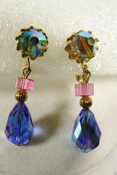 Vintage Blue Aurora Borealis Crystal Tear Drop Clip Earrings | eBay