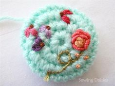 Crochet flower button.