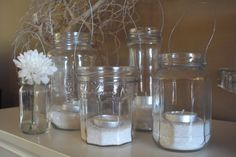tea lights in jam jars