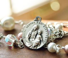 Catholic Religious Jewelry, Virgin Mary Necklace, Blessed Sacrament, Saint Peter Julian Emyard, Catholic jewelry, saint medal necklace by FifteenMagpieLane on Etsy