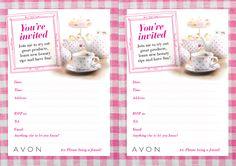 AVON Tea Party invitation! Cute, I need to make this! www.facebook.com/chantevaughn #Avon #Representative