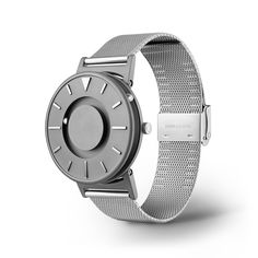 """The minimalist face of The Bradley Classic features raised markers at each hour. To increase tactile legibility, there is a triangular marker indicating """"12"""", a"""